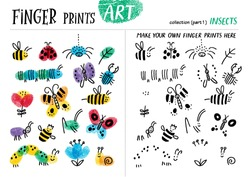 Finger prints art. The task teaches your kids how to make cute insects. Collection in vector. Insects. Part 1.
