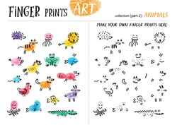 Finger prints art. The task teaches your kids how to make different animals. Collection in vector. Animals. Part 2.