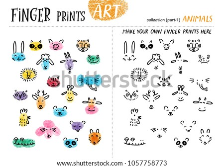 Finger prints art. The task teaches your kids how to make different animals. Collection in vector. Animals. Part 1.