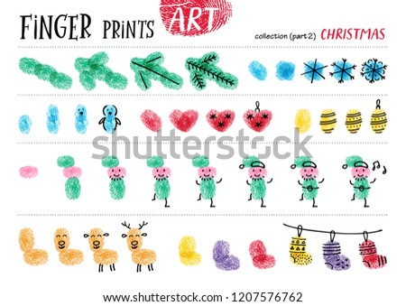 Finger prints art. The task teaches your kids how to make different Christmas  attributes. Collection in vector. Christmas. Part 2.