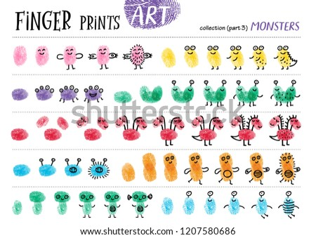 Finger prints art. The task teaches your kids how to make different monsters. Collection in vector. Monsters. Part 3.
