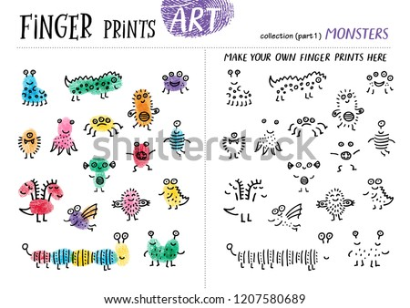 Finger prints art. The task teaches your kids how to make different monsters. Collection in vector. Monsters. Part 1.