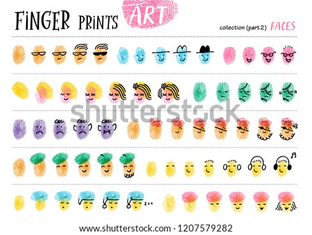 Finger prints art. The task teaches your kids how to make different portraits of people. Collection in vector. Faces. Part 2.