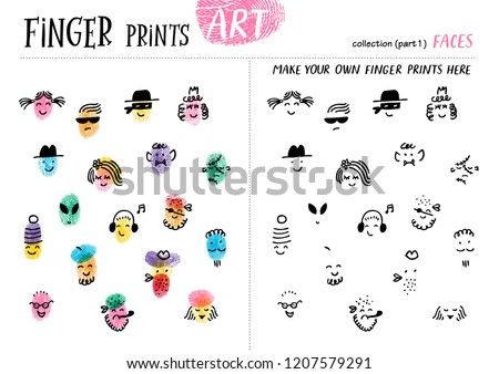Finger prints art. The task teaches your kids how to make different portraits of people. Collection in vector. Faces. Part 1.