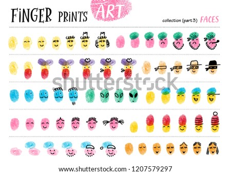 Finger prints art. The task teaches your kids how to make different portraits of people. Collection in vector. Faces. Part 3.