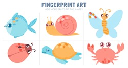 Finger prints kid activity. Worksheet coloring with fingerprint art - butterfly, fish, snail and turtle. Vector fun game for preschool child. Adding prints to shape, quiz for kindergarten