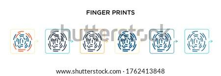 finger prints vector icon in 6