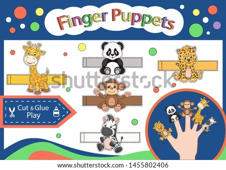 Finger puppets. Cut and glue the paper cute animals doll. Worksheet with children art game. Kids crafts activity page. Create toys yourself. 3d gaming puzzle. Birthday decor. Vector illustration.