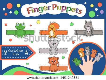 Finger puppets. Paper animals doll for playhouse. Cut and glue the toys. Worksheet with children art game. Kids crafts activity page. Gaming puzzle. Birthday decor. Vector illustration.
