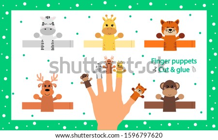 Finger puppets. Vector illustration. Cut and glue the paper cute animals doll. Create toys farm animals. 3d gaming puzzle. Birthday decor. Worksheet with children art game. Foto stock ©