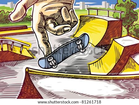 Finger skateboarding practicing. 360' one-foot jump on the skatepark ramp. Editable vector EPS v9.0
