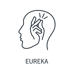 Finger snap in the head. Eureka sign. Vector linear icon isolated on white background.