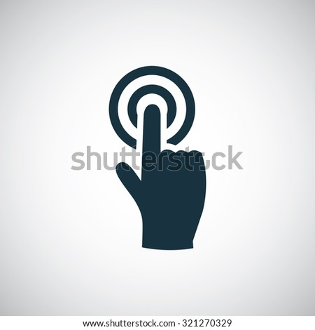 finger touch screen icon, on white background