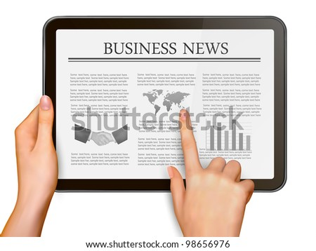 Finger touching digital tablet screen with business news. Vector illustration.