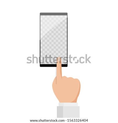 Finger touching smartphone illustration.E-commerce, e commerce, sale online shopping, label message. Mobile payments,advertising customer information. Modern trendy flat design vector illustration