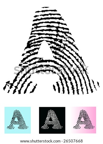 Fingerprint Alphabet Letter A (Highly detailed Letter - transparent so can be overlaid onto other graphics)