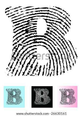 Fingerprint Alphabet Letter B (Highly detailed Letter - transparent so can be overlaid onto other graphics)