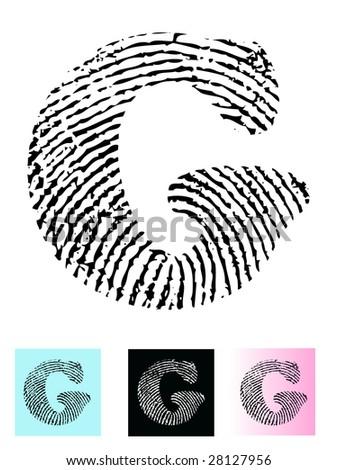 Fingerprint Alphabet Letter G (Highly detailed Letter - transparent so can be overlaid onto other graphics)
