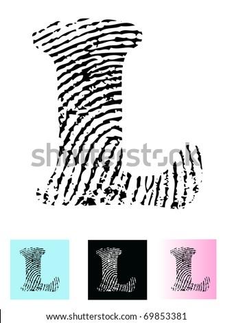 Fingerprint Alphabet Letter L (Highly detailed Letter - transparent so can be overlaid onto other graphics) - stock vector