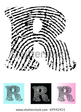 Fingerprint Alphabet Letter R (Highly detailed Letter - transparent so can be overlaid onto other graphics)