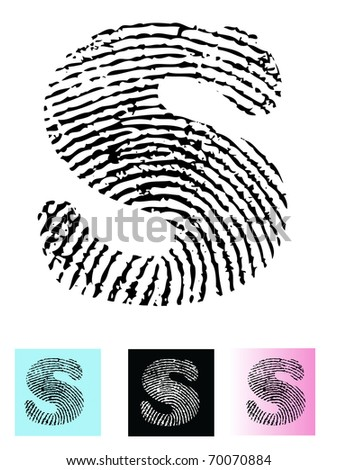 Fingerprint Alphabet Letter S (Highly detailed Letter - transparent so can be overlaid onto other graphics)