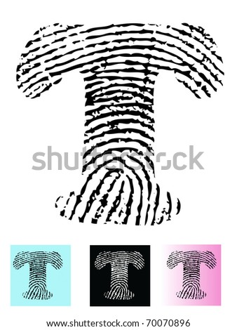 Fingerprint Alphabet Letter T (Highly detailed Letter - transparent so can be overlaid onto other graphics)