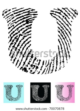 Fingerprint Alphabet Letter U (Highly detailed Letter - transparent so can be overlaid onto other graphics)