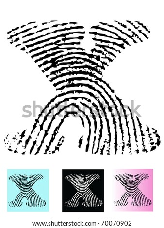 Fingerprint Alphabet Letter X (Highly detailed Letter - transparent so can be overlaid onto other graphics)