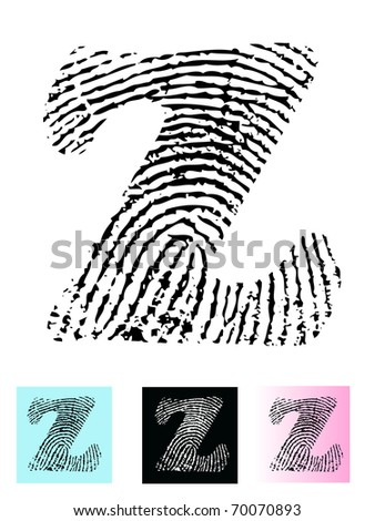 Fingerprint Alphabet Letter Z (Highly detailed Letter - transparent so can be overlaid onto other graphics)