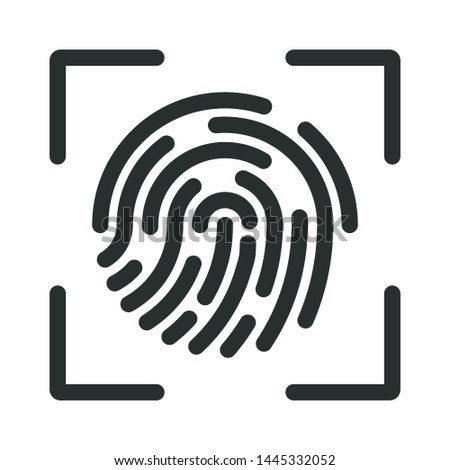 fingerprint and identification - minimal line web icon. simple vector illustration. concept for infographic, website or app.