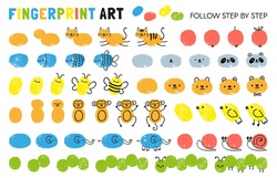 Fingerprint art steps. Worksheet for kid learning to draw animals. Paint with finger print kindergarten activity. Game for child vector page. Drawing cat and apple, fish and bee, panda, monkey
