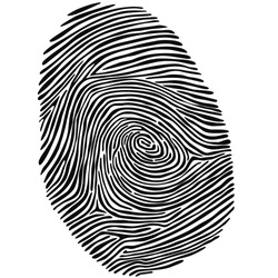 Fingerprint drawn by hand. Abstract vector data in black and white.