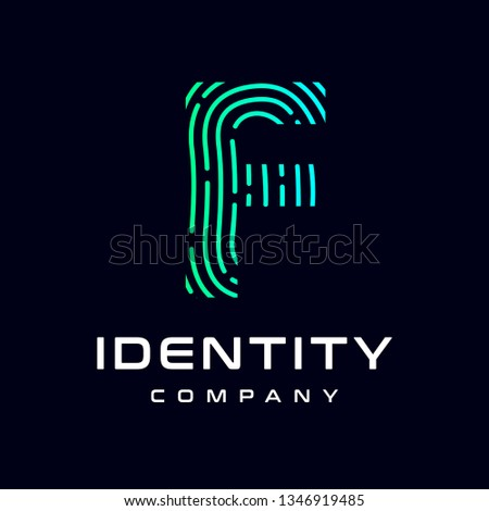 Fingerprint F letter vector template logo. Design with gradient and technology. This graphic  is suitable for identification, security, protection and business.