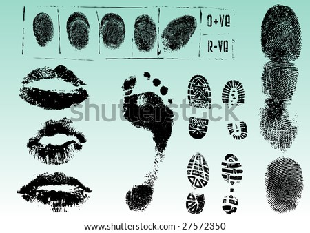 Fingerprint Footprints and Lips 2 - Very accurately scanned and traced ( Vectors are transparent so it can be overlaid on other images, vectors etc.)