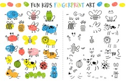 Fingerprint game for kids. Fun educational activity for children study to paint with fingers. Doodle animals and insects drawing vector set as bee, elephant, frog, cow, butterfly and cat