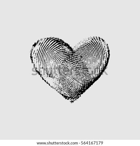 fingerprint heart black iv