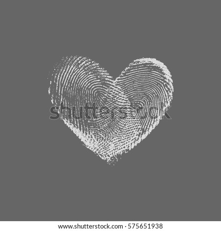 Fingerprint Heart Silver - vector isolated love symbol for save the date, marriage and wedding invitation
