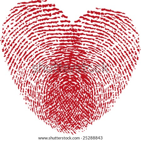 stock vector : fingerprint heart, vector