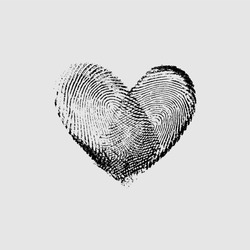 Fingerprint Heart - vector isolated love symbol for save the date, marriage and wedding invitation
