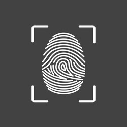 Fingerprint icon identification isolated on dark background. Security and surveillance system