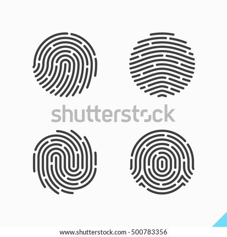 Fingerprint Icons. Vector illustration.