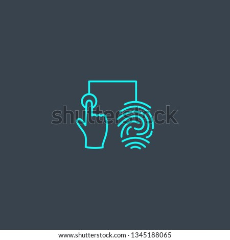 fingerprint identification concept blue line icon. Simple thin element on dark background. fingerprint identification concept outline symbol design. Can be used for web and mobile UI/UX