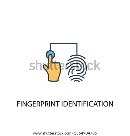 fingerprint identification concept 2 colored line icon. Simple yellow and blue element illustration. fingerprint identification concept outline symbol design