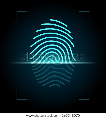 Fingerprint identification system. EPS 10 with transparency.