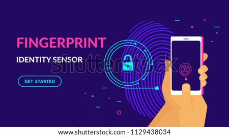 Fingerprint identity sensor flat vector neon website template and landing page design of digital fingerprint identification on smartphone. Human hand holds gadget with biometric scanning technology