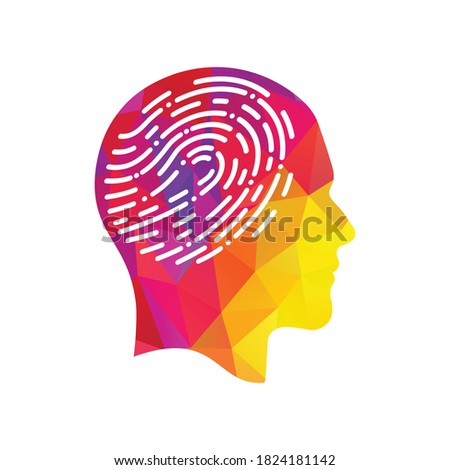 Fingerprint in human head icon. Symbol of self identity. Head with fingerprint in place of the brain ストックフォト ©
