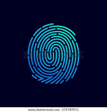 fingerprint line icon vector