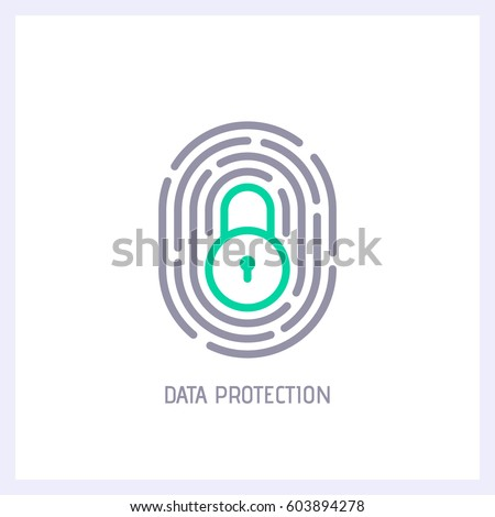 Fingerprint loop icon with lock sign inside. Concept of personal data protection. App security. Flat vector icon.