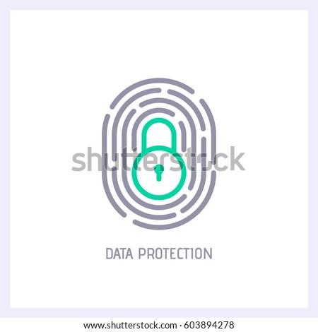 fingerprint loop icon with lock ...
