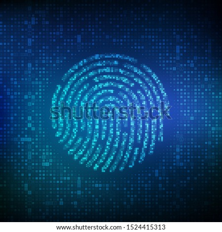 Fingerprint made with binary code. Biometrics identification and approval. Password control through fingerprints. Futuristic biometric and cyber security concept on the digital surface. Vector. EPS10.